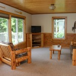 log furniture living room with large window