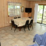 cabin kitchen with large window