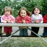 girls on a picnic table