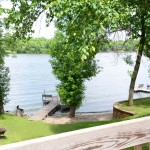 view of horseshoe chain and dock from deck