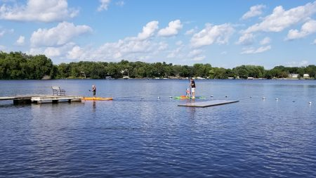 Paddleboarding with sky